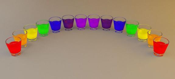 Rainbow Shots koktélok