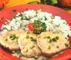 Zöldborsós párolt karaj petrezselymes rizzsel